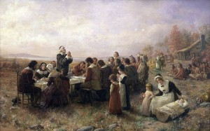 A picture of what the First Thanksgiving really looked like.  Wait a minute -- How did the Sioux Indians from South Dakota get to Massachusetts?  And where are the Wampanoag?