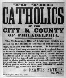 Then -- as now -- community leaders called for a peaceful approach to the conflict.  This broadside came from Catholic bishop, Francis Patrick.