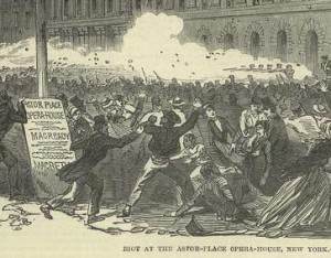 Rioters in New York City in 1849 do their thing.