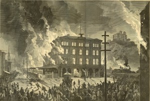 Railway rioters in Pittsburgh in 1877 do their thing.