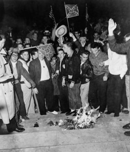 Students at the University of Alabama burning civil rights literature