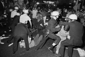 Rioters at the 1968 Democratic National Convention in Chicago do their thing.