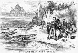 Wait, are those crocodiles coming ashore to eat our defenseless American children? No, don't be silly. Look closely. They are Catholic cardinals. Ah, yes. That makes sense. (A Thomas Nast political cartoon from 1871).